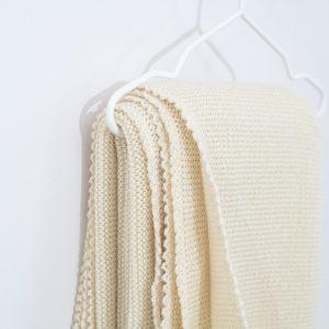 Couverture bébé en laine mérinos bio écru Reiff