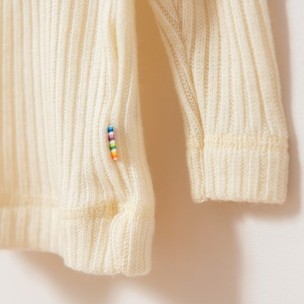 t-shirt manches longues enfant en laine mérinos bio écru Joha