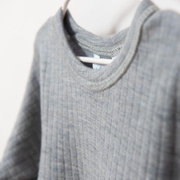 Tricot de peau sous-vêtement enfant en laine mérinos bio gris Joha