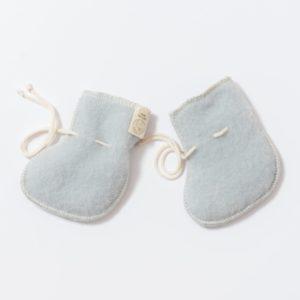 Chaussons de naissance en laine mérinos bio gris clair Lana Care