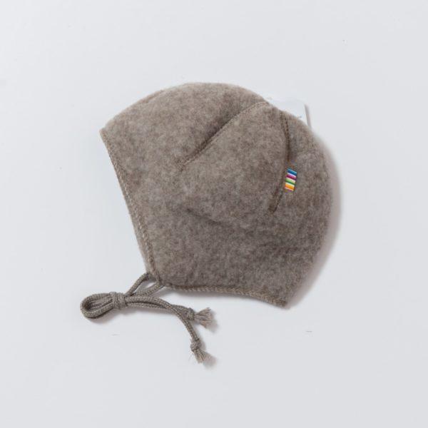 Bonnet bébé en polaire de laine mérinos bio taupe Joha