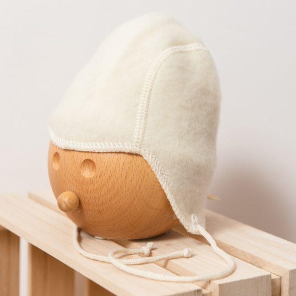 Bonnet bébé en laine mérinos bio écru Lana Care