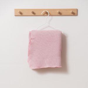 Couverture bébé en laine mérinos bio rose Reiff