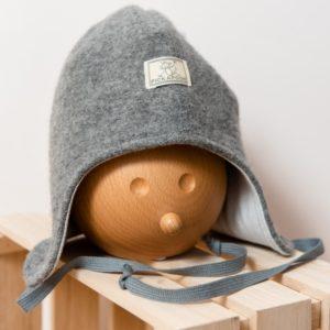 Bonnet en laine mérinos bouillie bio gris Pickapooh