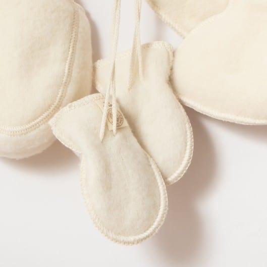 Moufles bébé en laine mérinos bio écru Lana Care