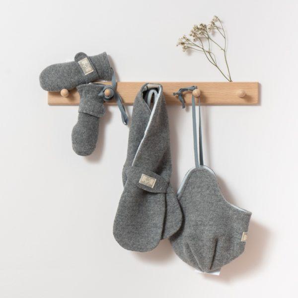 Bonnet, moufles et écharpes en laine bouillie bio gris Pickapooh