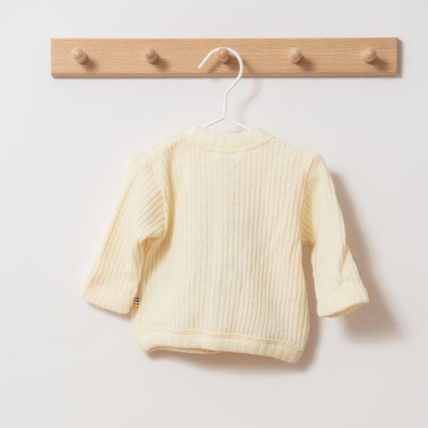 Gilet bébé en laine mérinos bio écru Joha
