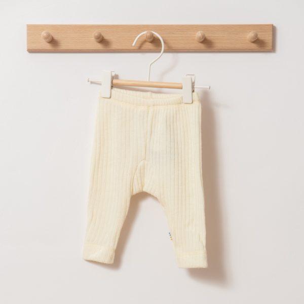 Pantalon legging bébé enfant en laine mérinos bio écru Joha
