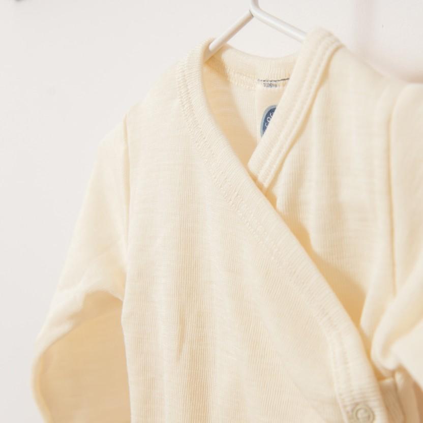 Body croisé manches longues en laine mérinos bio écru Cosilana