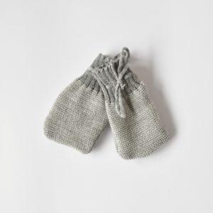 Moufles bébé en laine mérinos tricotée bio Disana gris clair