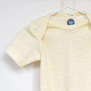 Body manches courtes en laine mérinos bio écru Cosilana