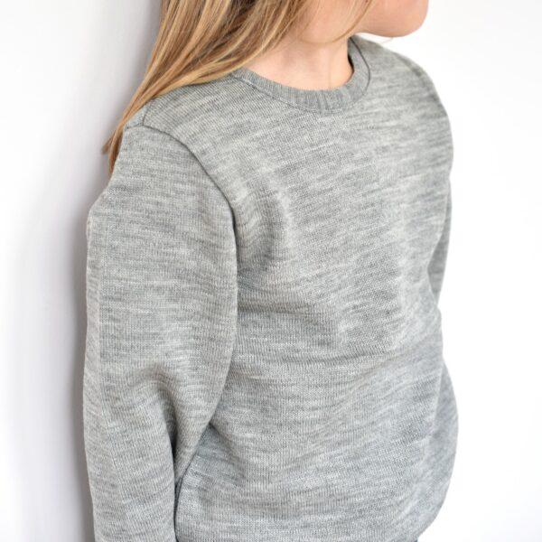 Pull enfant en laine mérinos bio gris Disana