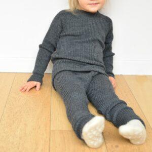 Legging bébé et enfant en laine mérinos gris Joha