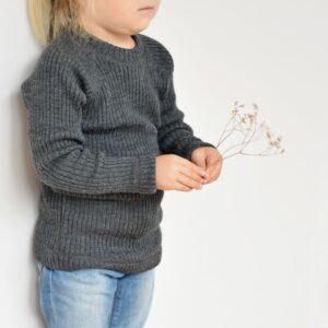 Pull bébé et enfant en laine mérinos gris Joha