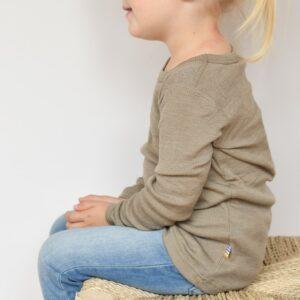 T-shirt manches longues bébé et enfant en laine mérinos taupe Joha